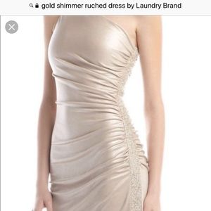 Gold shimmer ruched dress by Laundry size 4